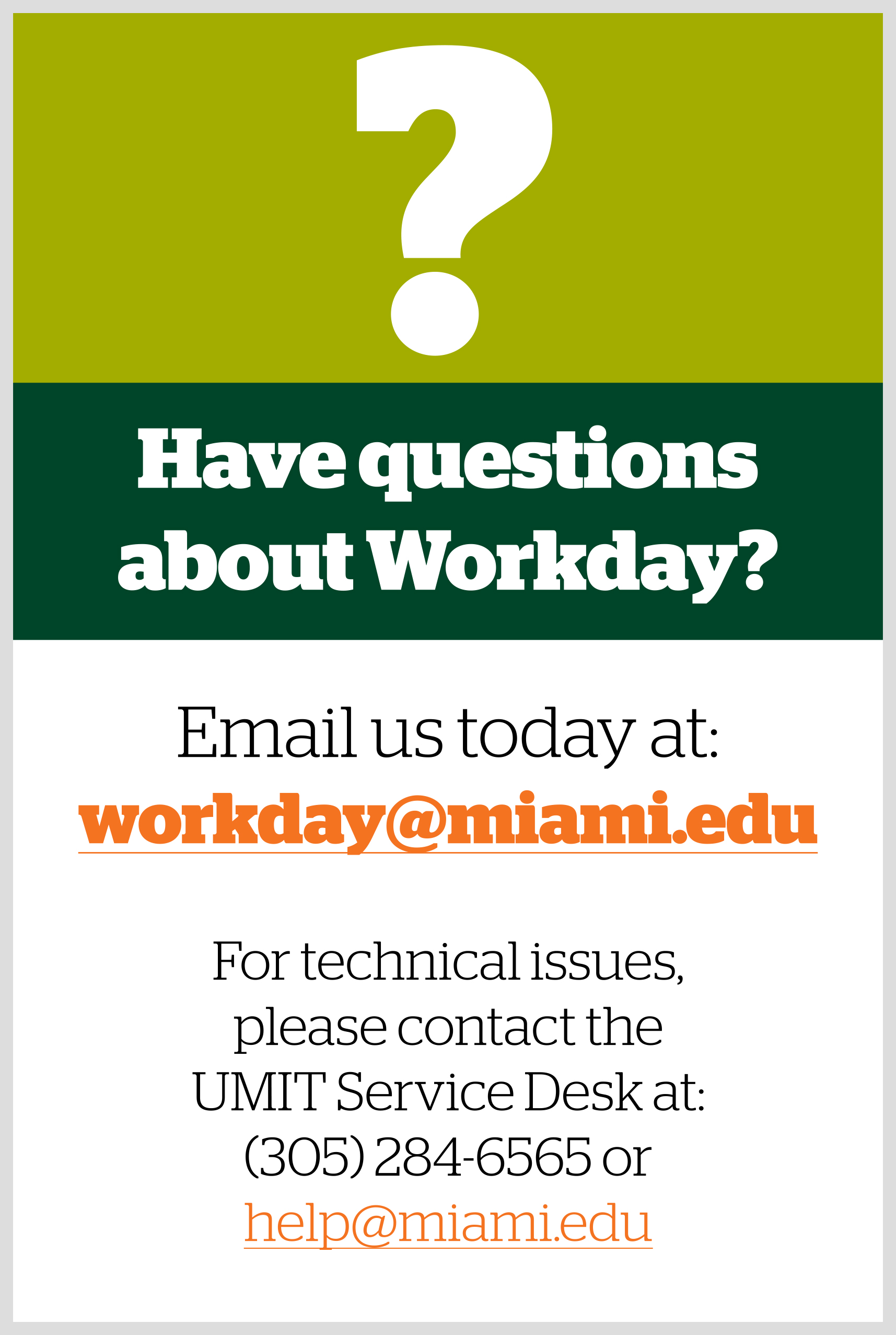 Contact the Workday team